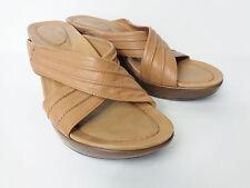 DANSKO EUR 39 US 8.5M 9M Brown Leather Wedge Platform Slide Sandal Shoe BRAZIL