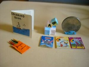 DOLLHOUSE MINIATURE COLORING BOOK, CRAYONS AND CHILDREN'S BOOKS 1:12 SCALE