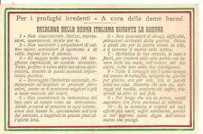 BARI_Dame Baresi_DECALOGO DELLA DONNA ITALIANA DURANTE LA GUERRA_WW1 1915-1918