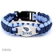 """Tennessee Titans Paracord Bracelet Football Fits 8-9"""" Quality Fast Ship USA Sell"""