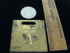 VINTAGE MOBILE OIL GAS/OIL PUMP BRASS TAG  Mobil Oil A BRASS FUEL TAG