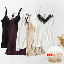 Women Silk Knitted Camisole Lace Tank Top Strap Spaghetti Vest Stretch Soft
