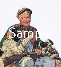 ANTIQUE 8X10 REPRO PHOTO PRINT HUNTER DOUBLE SHOTGUN ENGLISH SETTER PUPPIES