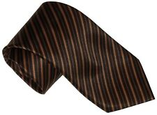 NEW STEFANO RICCI BLACK COPPER BROWN & RED STRIPE LUXURIOUS 100% SMOOTH SILK TIE