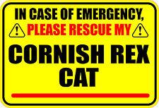 In Case Of Emergency Please Rescue My Cornish Rex Cat Sticker Decal