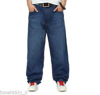 New Men's Jeans Blue Denim Baggy Loose Pants Trousers Relaxed Hip-Hop W30-W46