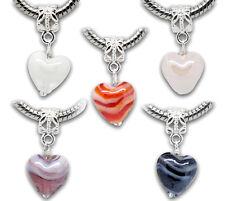 20pcs Mixed European Charm Glass Heart Dangle Beads Fit Charms Bracelet