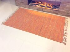 MULTI COLOUR ORANGE MIX Cotton Reversible Washable Dhurrie Kilim RUG 90x150cm