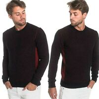 REPLAY pullover da uomo maglione in lana e cotone maglia mischiata nero e rosso