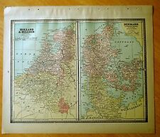 Antique Maps 1886 HOLLAND BELGIUM DENMARK SPAIN PORTUGAL 11 1/2 X 13 1/2