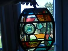 More details for leaded multi colour stained glass porch light 1940's