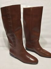 """NICOLE LEATHER SAVANNAH PULL ON RIDING EQUESTRIAN BOOTS 6.5 M BROWN 15"""" HT JBY"""