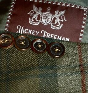 42R Hickey Freeman Green Red Madras Plaid flannel PEAK LAPEL Sport Coat Blazer
