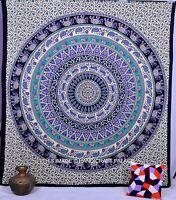 Ethnique Mandala Indien Éléphant Mural Suspendu Coton Tapisserie Jété Décor