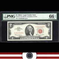 HIGH GRADE 1963-A $2 Legal Tender Note *GEM RED SEAL BILL* PMG 66 EPQ  Fr 1514