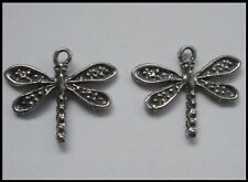 Pewter Charm #244 x 2 Dragonfly (22mm x 20mm) 1 bail dragonflies