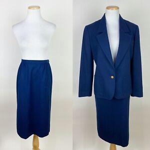 """VTG 80s 90s PENDLETON Navy Blue Wool Skirt Suit S / 27"""" High Waist Chic Blazer"""