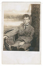 JUDAICA JEWISH REAL PHOTO POSTCARD YESHIVA BOY KIPPA YARMULKE SKULL CAP 1906