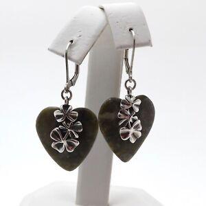 Sterling Silver Ireland Irish Connemara Marble Heart Shamrock Leverback Earrings