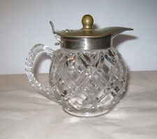 Antique  Vintage Decanter Jug Glass Metal Silver Lid Very Attractive