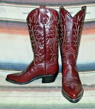 Womens Vintage Dan Post Maroon Red Leather Cowboy Boots 5.5 C NEW w/o Box