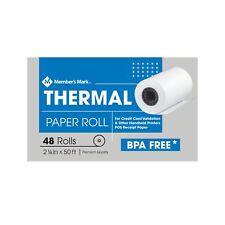 "New ! 48 PK Member's Mark Thermal Receipt Paper Rolls, 2 1/4"" X 50'"