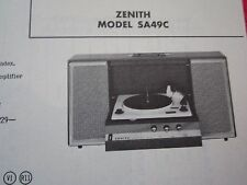 ZENITH SA49C PHONOGRAPH - RECORD PLAYER PHOTOFACT