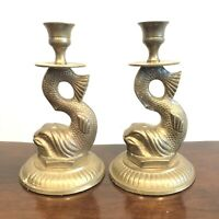 """Vintage Brass Asian Koi Fish Candlestick Holders Pair 7.5"""" Tall Heavy Set of 2"""