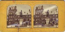 Pays-Bas La Haye La statue de Guillaume IIDiorama Tissue Stereo Vintage c 1860