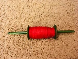 """Vintage Wood Kite String Reel Spool Green/Yellow/Red 12 1/2"""" with Red String"""