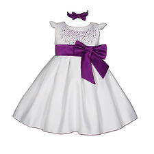 New Baby Satin Christening Party Dress with Matching Headband in 9 colour 0-24 M
