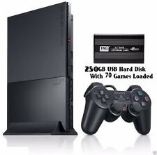 Sony Playstation 2 Complete Set +Memory Card+ 250GB USB HardDisk 70 Games Loaded