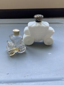Avon Royal Coach Carriage Milk Glass & Clear Courting Carriage Bottles *EMPTY*