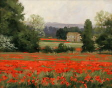 Italy Tuscany Red Flower Field Landscape Oil painting Printed on Canvas P350