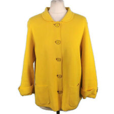 Joules Size 16 Bright Yellow Fine Knit Jacket Pockets Button Up Casual
