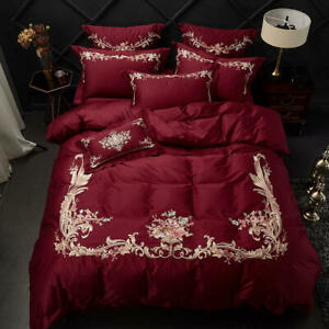 Red Luxury Egyptian Cotton Embroidery Queen King Bedding Set Sheet Duvet Cover