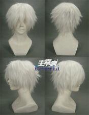 Tokyo Ghoul Kaneki Ken Short White Anime Cosplay Costume Wig +Free Track +CAP
