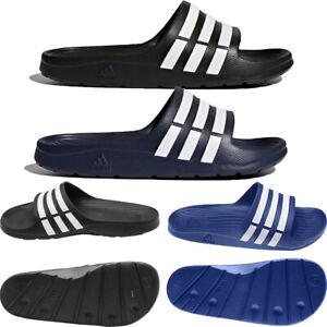 Adidas Mens Sliders Duramo Slides Shoes Pool Beach Sandals Slippers Black Blue