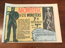 1974 VINTAGE 5X6.5 PRINT AD FOR LIFE SIZE SKELETON+FRANKENSTEIN MONSTER NOVELTY
