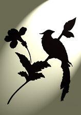 Shabby Chic Stencil Lunga Coda Albero Uccellino in stile vintage a4 297x210mm Muro in Mylar