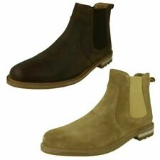 Mens Clarks Slip On Leather Ankle Boots 'Foxwell Top'