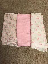 HB Hudson Baby Girl Swaddle Blanket Muslin Pink Lot of 3 Patterned 46 X 46