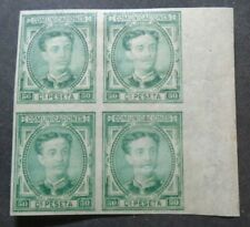 CLASSIC KING 50C IMPERF BLOCK OF 4 WITH 2 STAMPS VFMNH SPAIN ESPAGNE W9.45 0.99$
