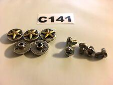 #C141 Enmon Lot of 5 Conchos Single Beautiful Gold Star 15mm Diameter Screw Back
