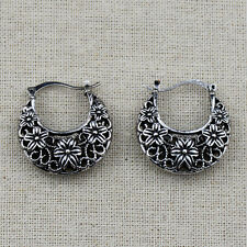 Retro Vintage Antique Silver Hollow Out Flower Round Earrings For Women Lady