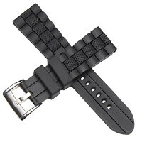 22mm Black Silicone Rubber Watch Strap Band For Diver Sport watch replacement