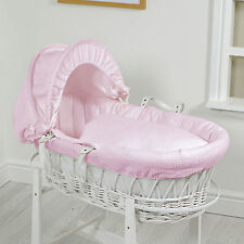 NEW 4BABY PINK WAFFLE WHITE WICKER BABY GIRLS MOSES BASKET WITH SAFETY MATTRESS