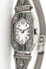 Antique 1920s 18k White Gold 1ct Emerald Onyx Diamond Ladies Filigree Watch