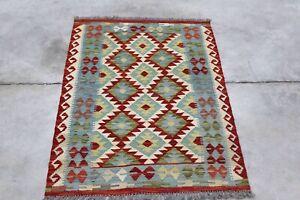 Afghan Kundoz Genuine Handmade Tribal Nomad Multi Colour Wool Kilim Rug 84x124cm
