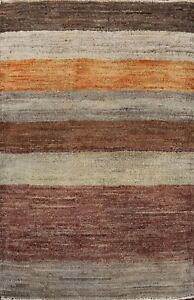 Striped Gabbeh Kashkoli Handmade Wool Oriental Area Rug Modern Foyer Carpet 2x3